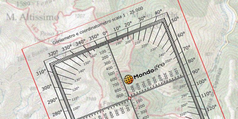 Goniometro circolare con reciproci e coordinatometro in scala 1:25000
