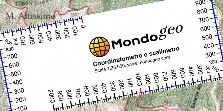 Coordinatometro per cartoncino in scala 1:25.000