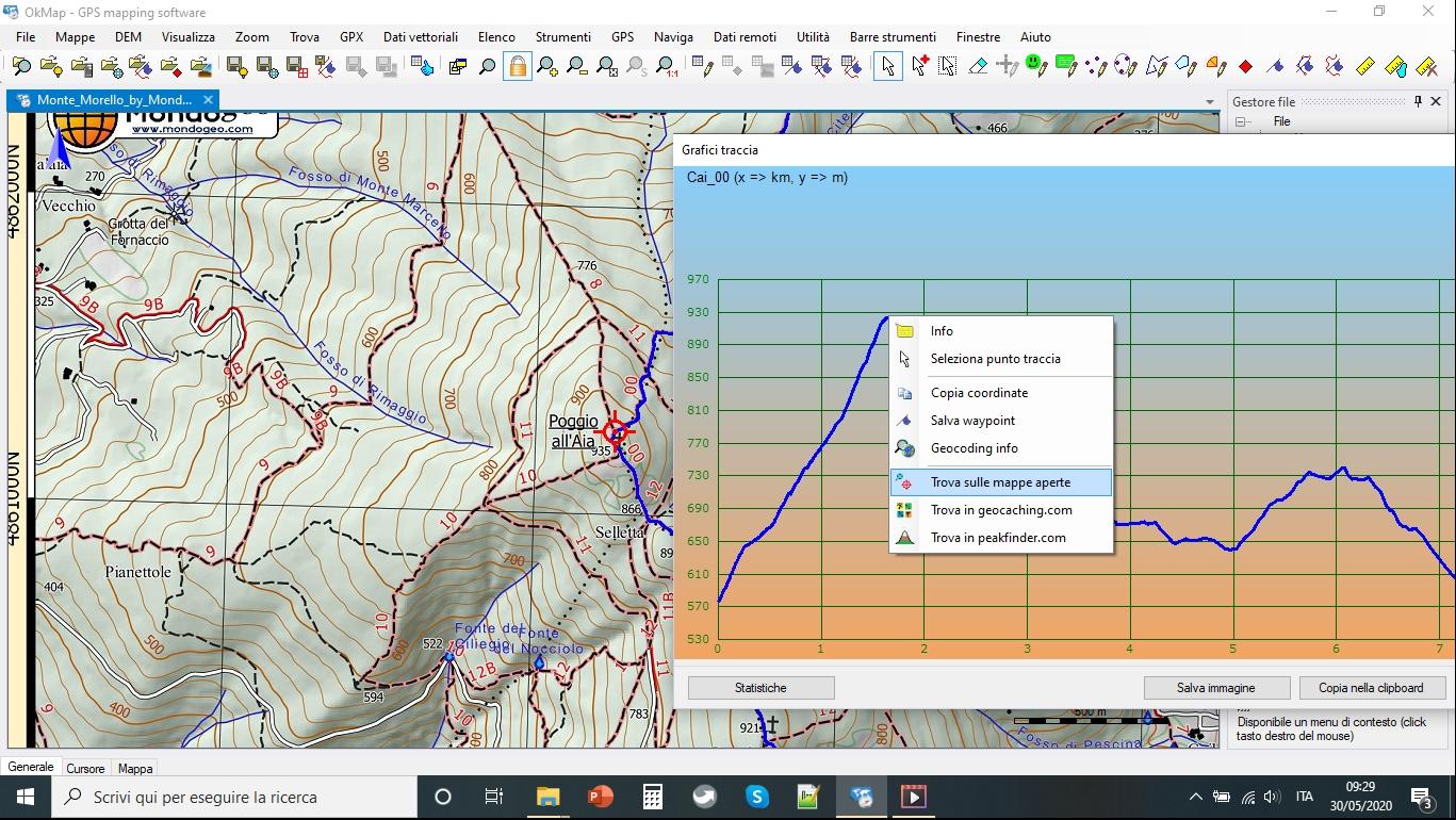 trova su mappa dal grafico con okmap
