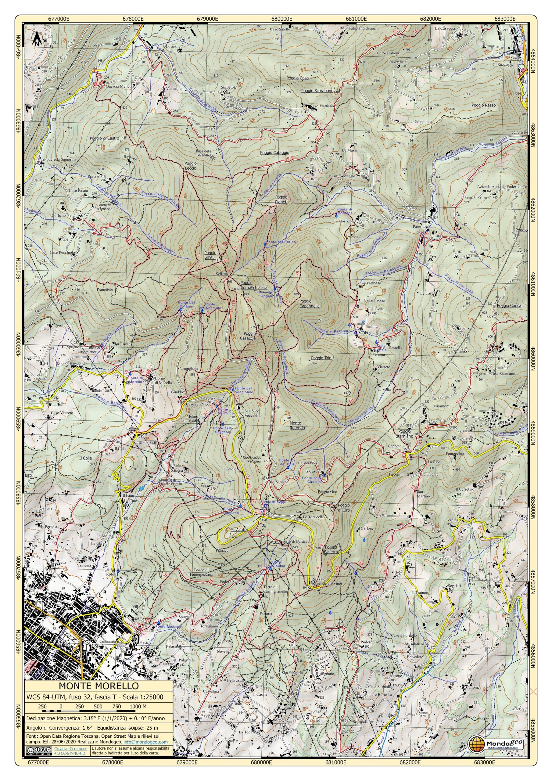 Carta dei sentieri di monte Morello in formato A3
