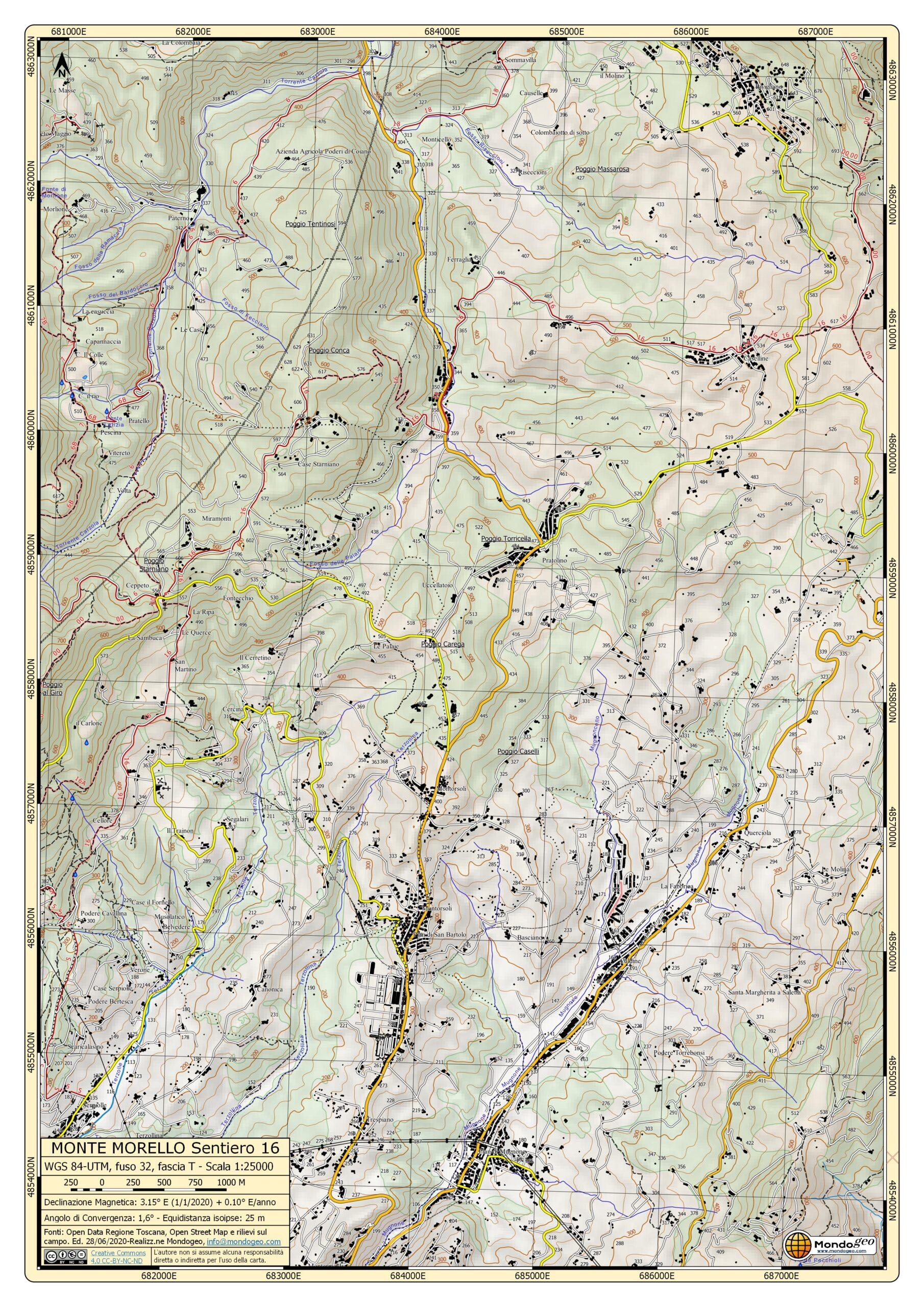 Carta dei sentieri di monte Morello del sentiero 16 in formato A3