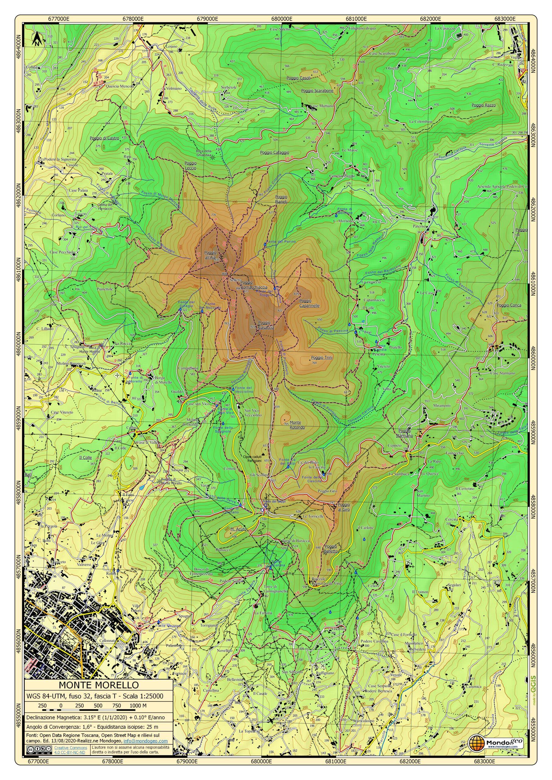 Mappa di Monte Morello con fasce altimentriche